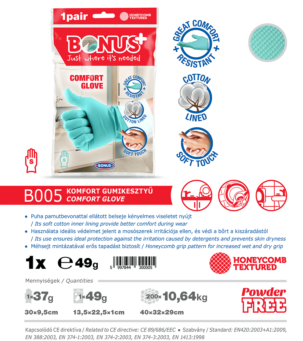 B005 Bonus+ komfort gumikesztyű katalógus adatok