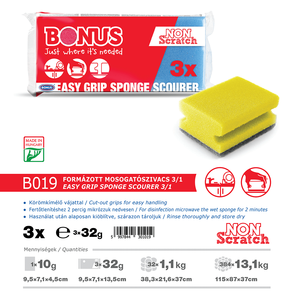 B019 Bonus formázott mosogatószivacs 3/1 katalógus adatok