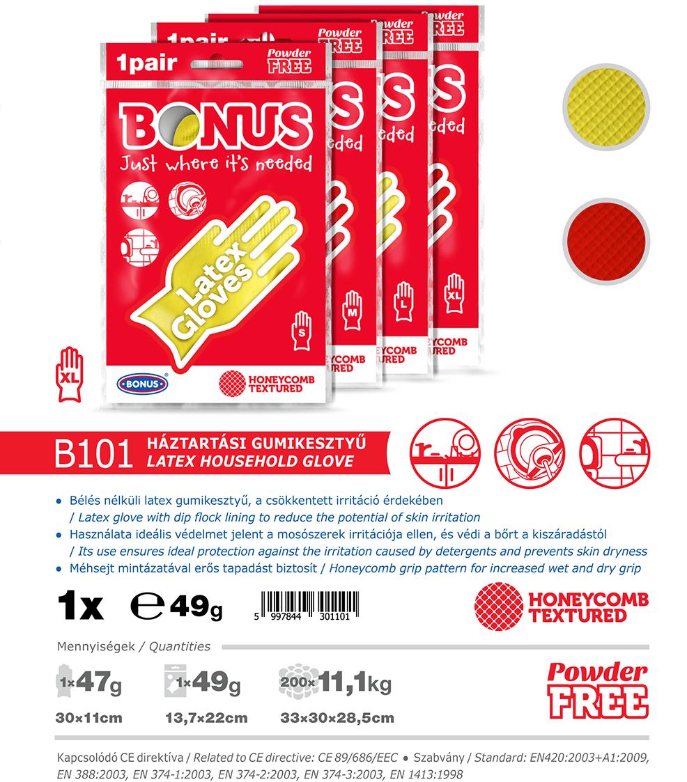 B101 Bonus Háztartási latex gumikesztyű katalógus adatok