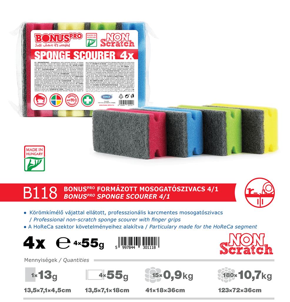 B118 BonusPRO formázott mosogatószivacs 4/1 katalógus adatok