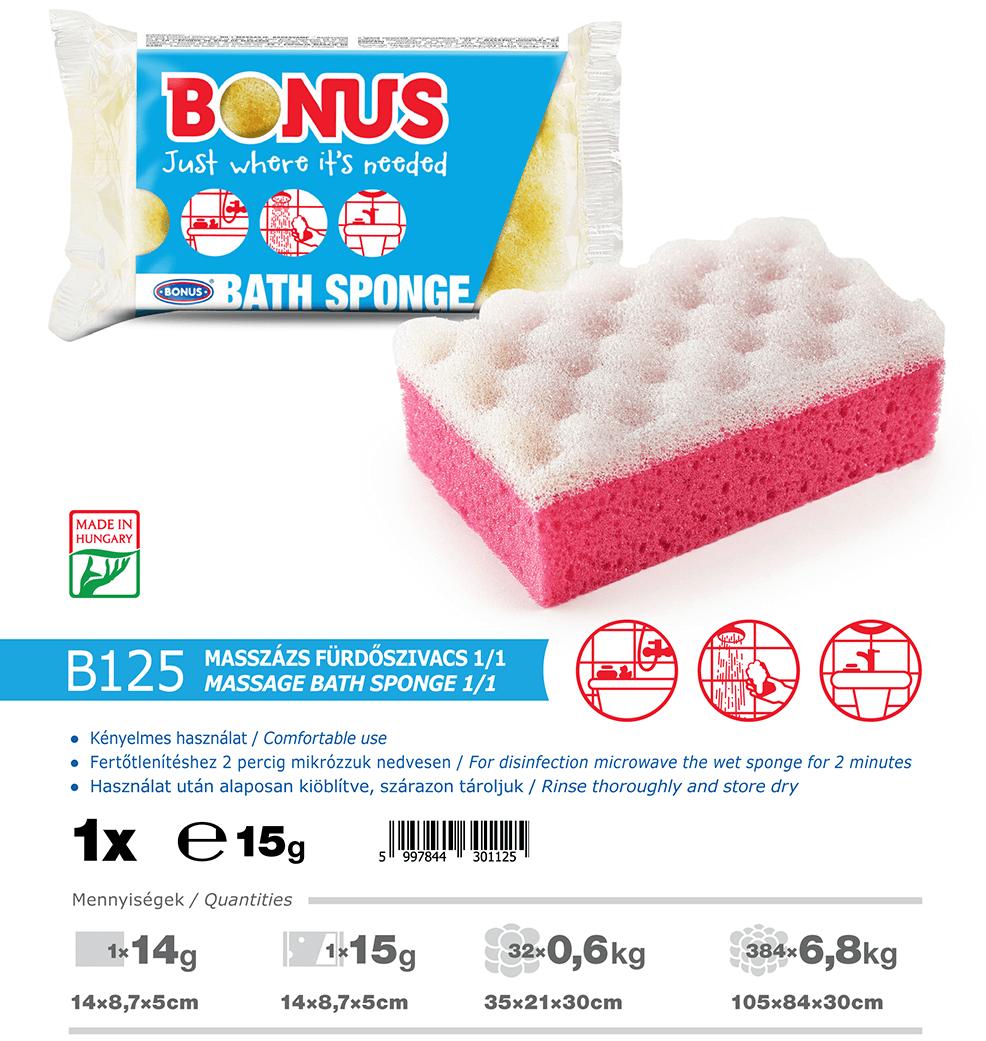 B125 Bonus masszázs fürdőszivacs 1/1 katalógus adatok
