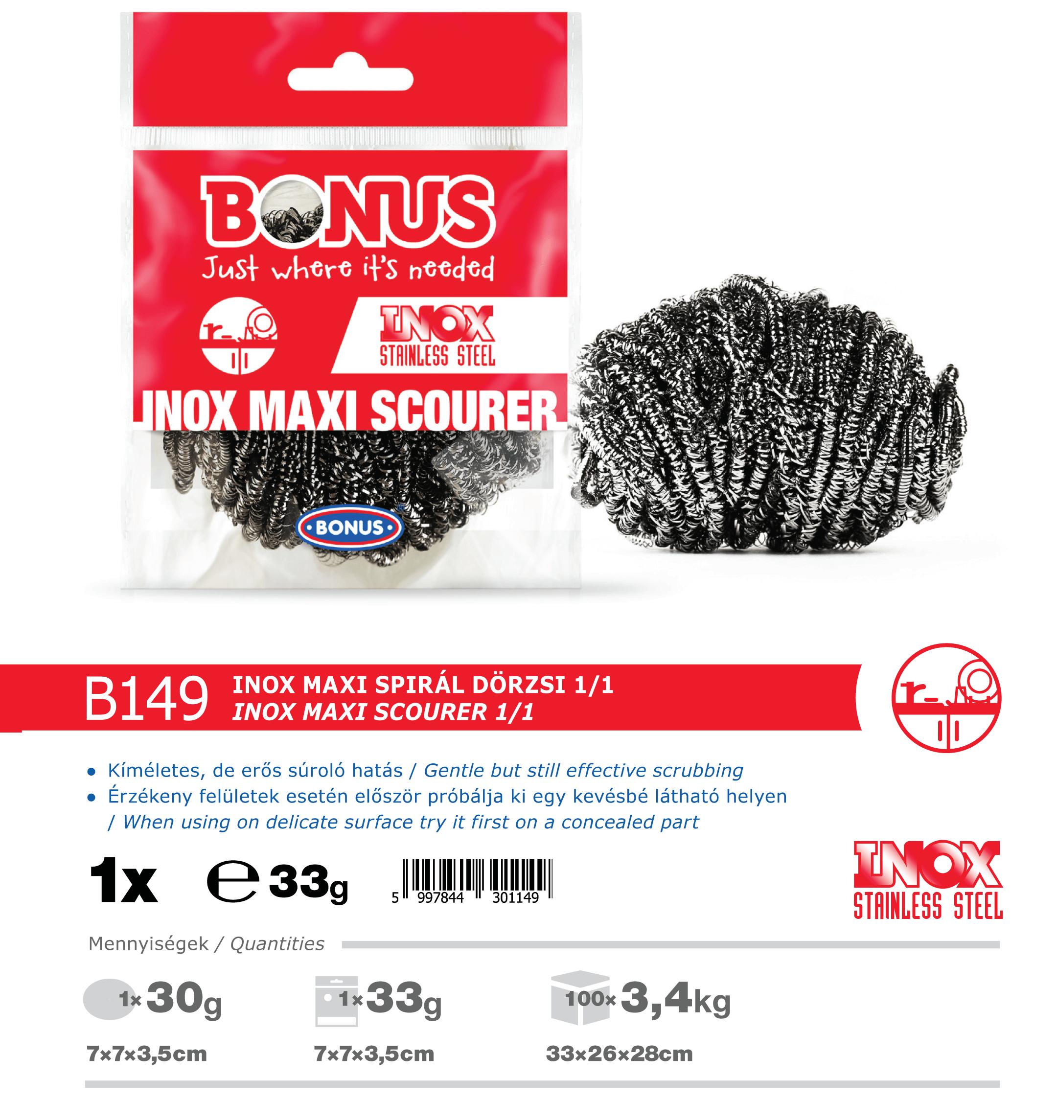 B149 Bonus INOX Maxi spirál dörzsi katalógus adatok