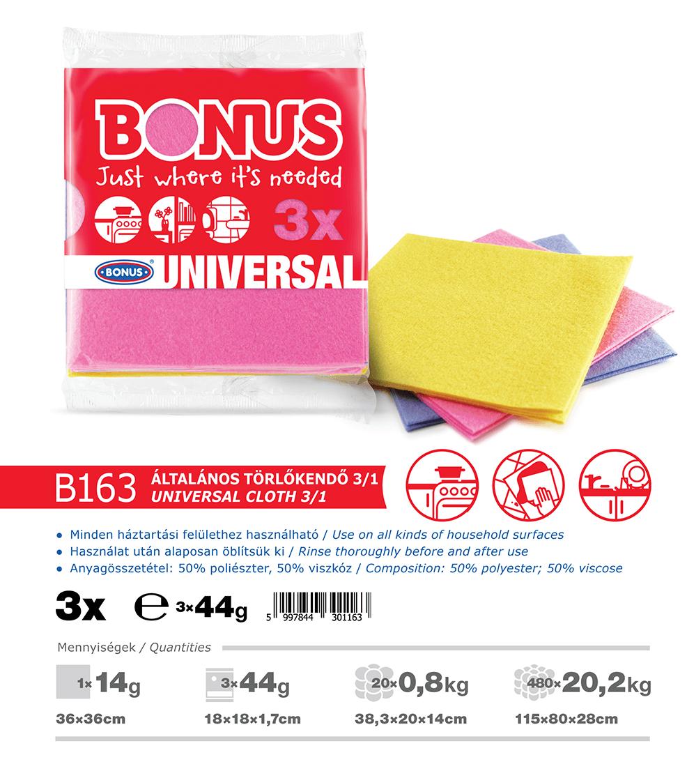 B163 Bonus általános törlőkendő 3/1 katalógus adatok