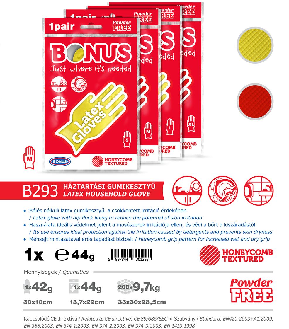B293 Bonus Háztartási latex gumikesztyű katalógus adatok