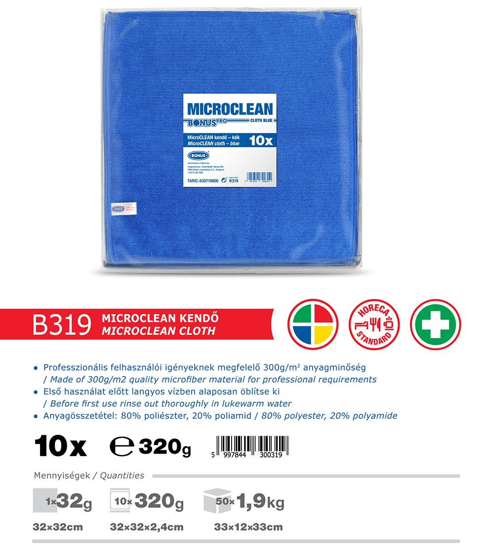 B319 BonusPRO MicroCLEAN 10/1 mikroszálas törlőkendő katalógus adatok