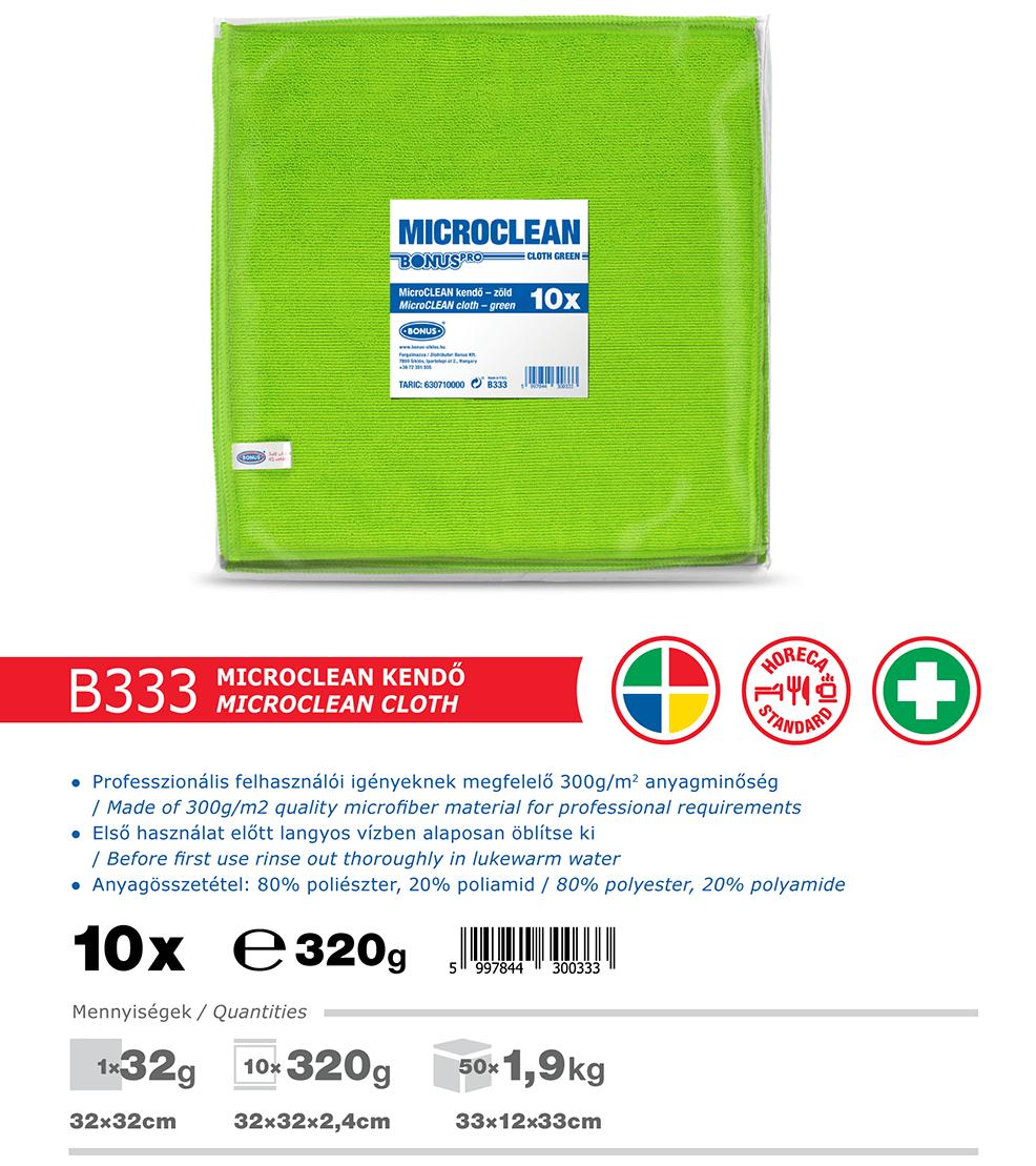 B333 BonusPRO MicroCLEAN 10/1 mikroszálas törlőkendő katalógus adatok