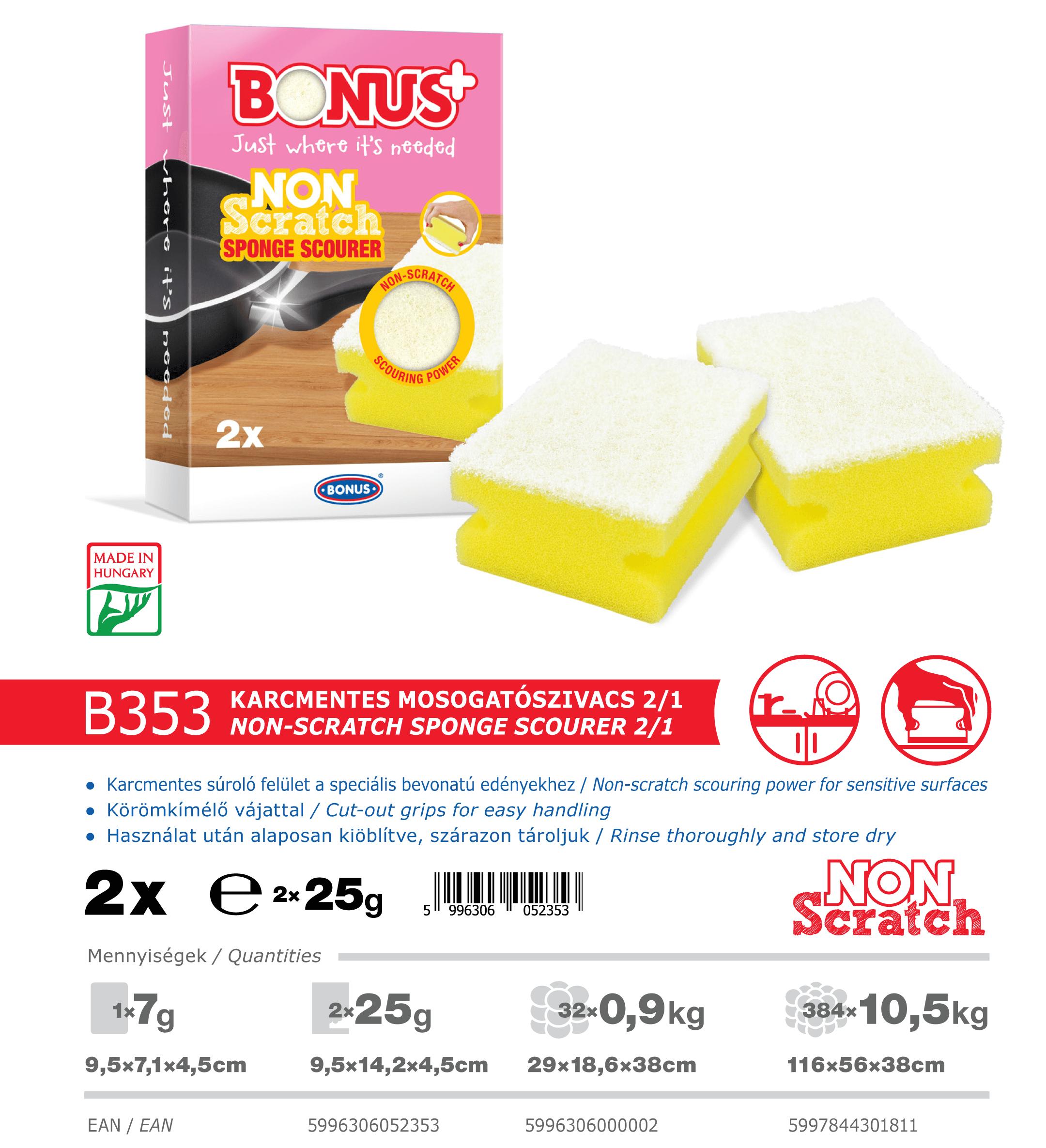 B353 Bonus+ karcmentes mosogatószivacs 2/1 katalógus adatok