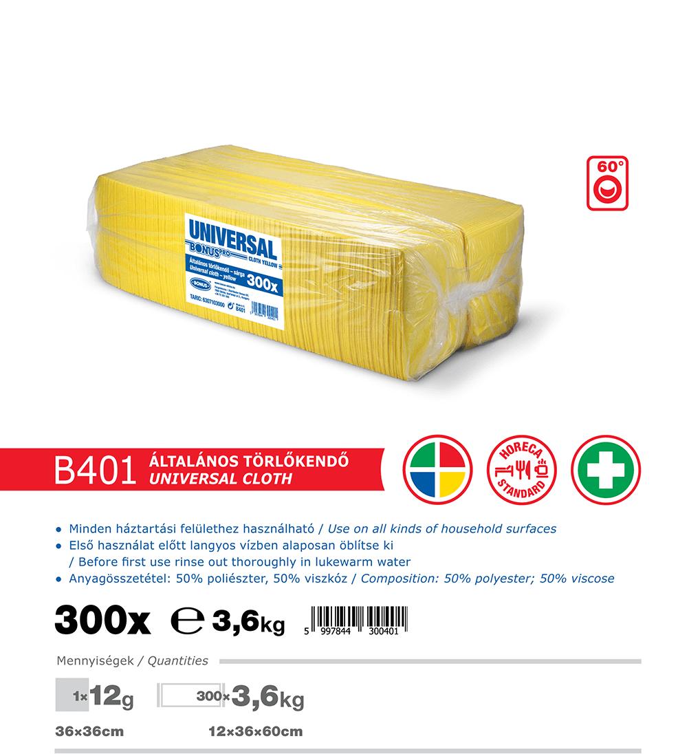 B401 BonusPRO törlőkendő 300/1 katalógus adatok