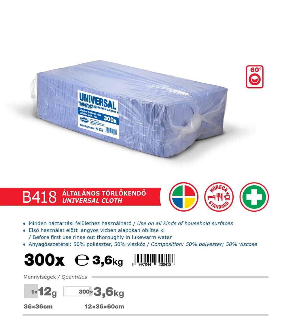 B418 BonusPRO törlőkendő 300/1 katalógus adatok