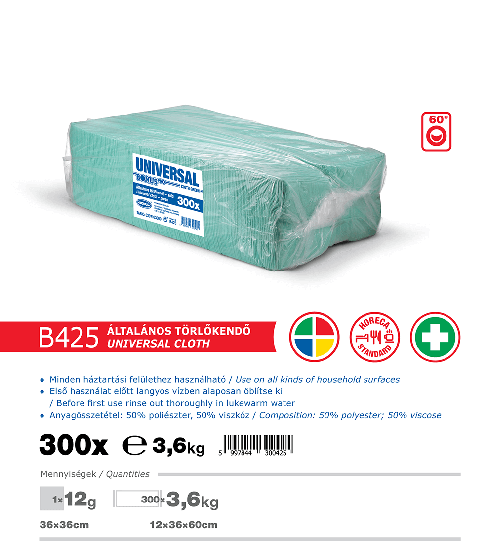 B425 BonusPRO törlőkendő 300/1 katalógus adatok