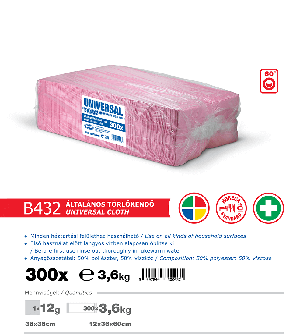 B432 BonusPRO törlőkendő 300/1 katalógus adatok