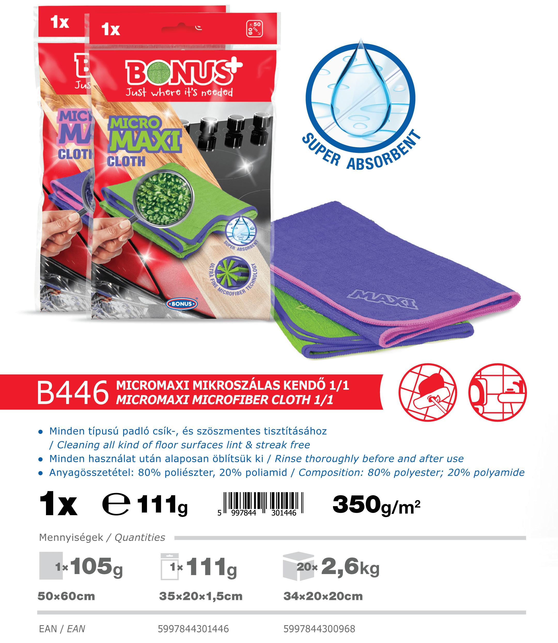 B446 Bonus+ MicroMAXI mikroszálas kendő katalógus adatok