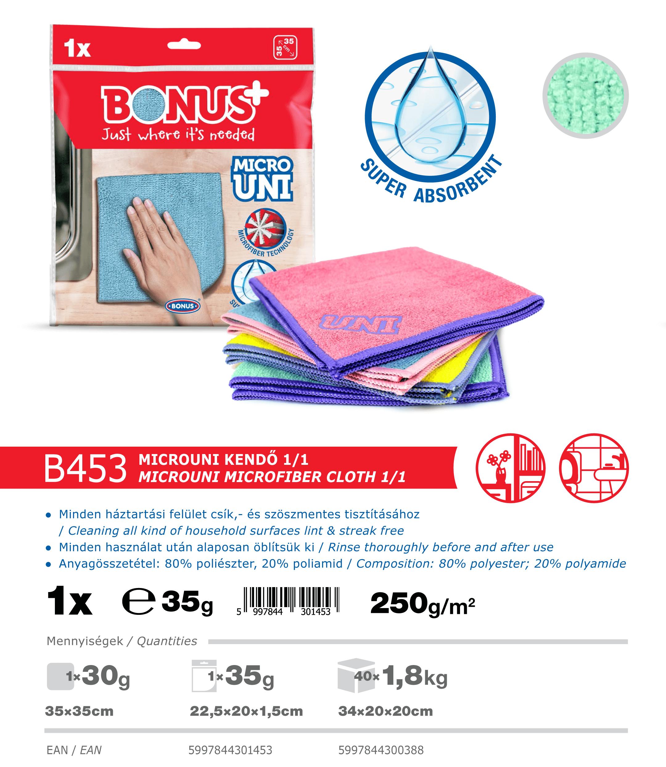 B453 Bonus+ microUNI kendő 1/1 katalógus adatok