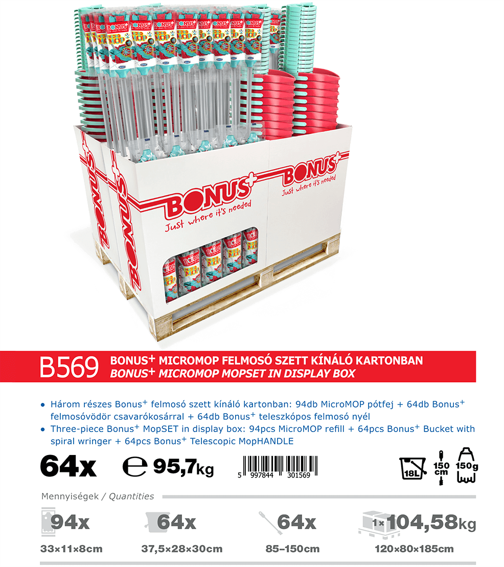 B569 Bonus+ MicroMOP felmosó szett katalógus adatok