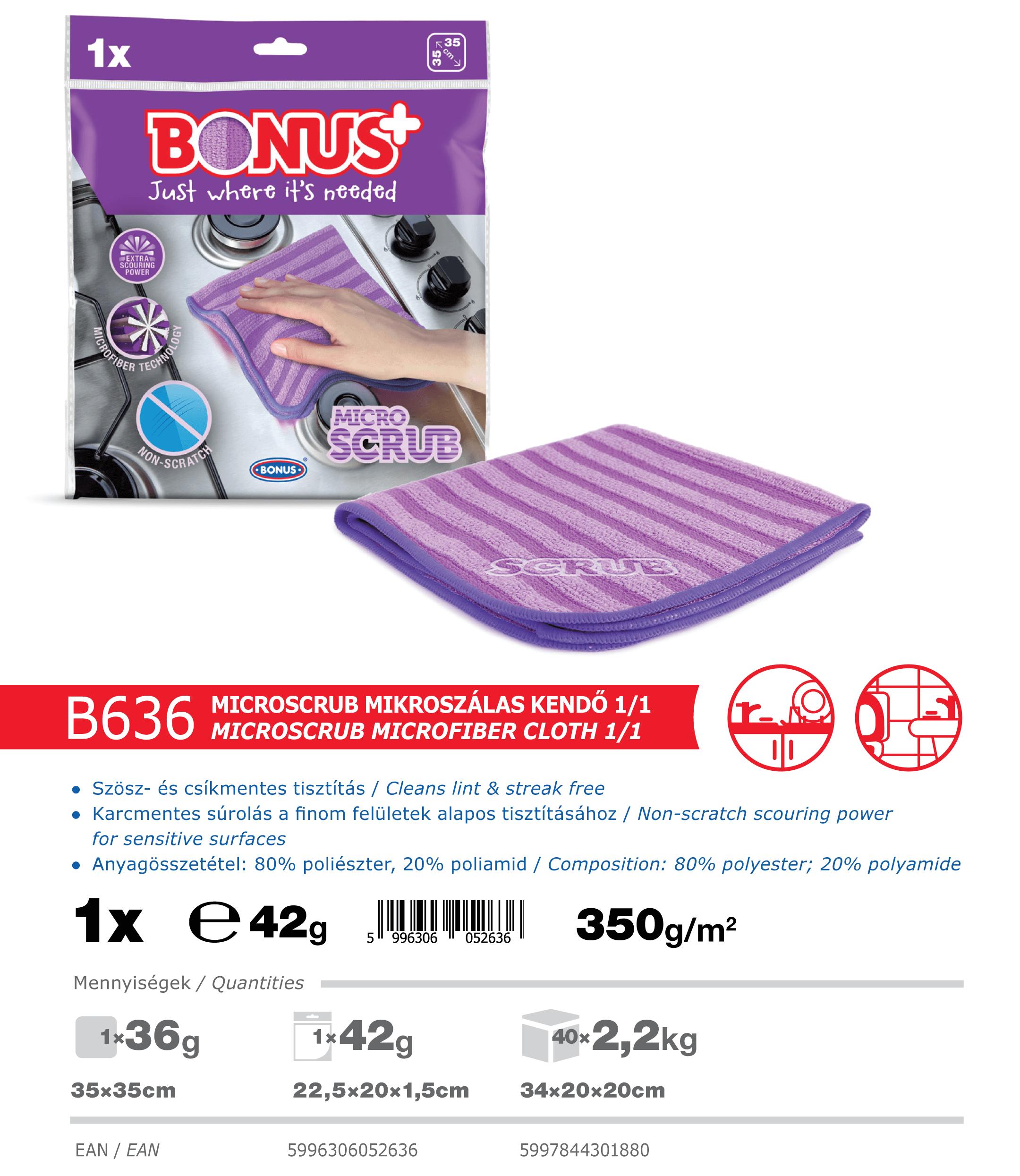 B636 Bonus+ MicroSCRUB kendő 1/1 katalógus adatok