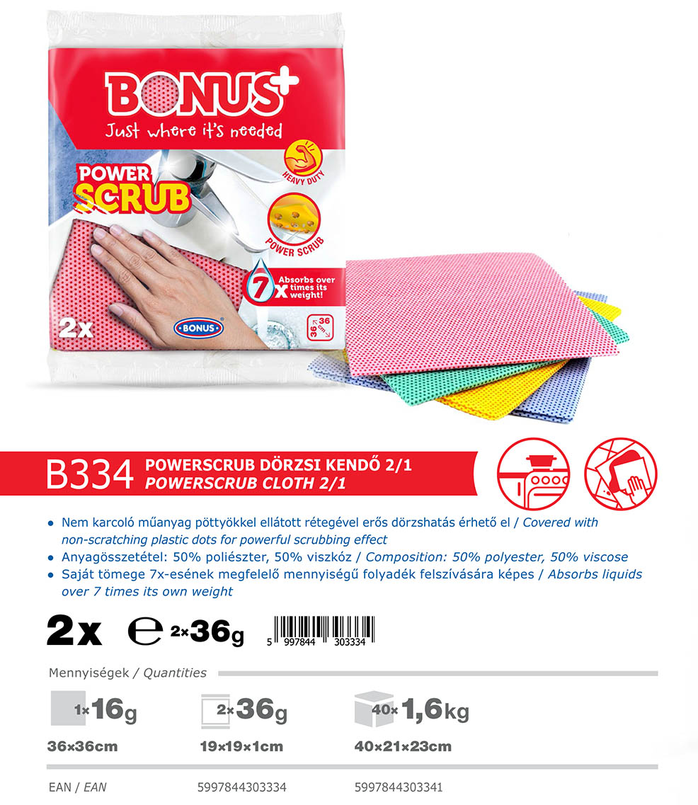 B334 Bonus+ PowerSCRUB kendő katalógus adatai